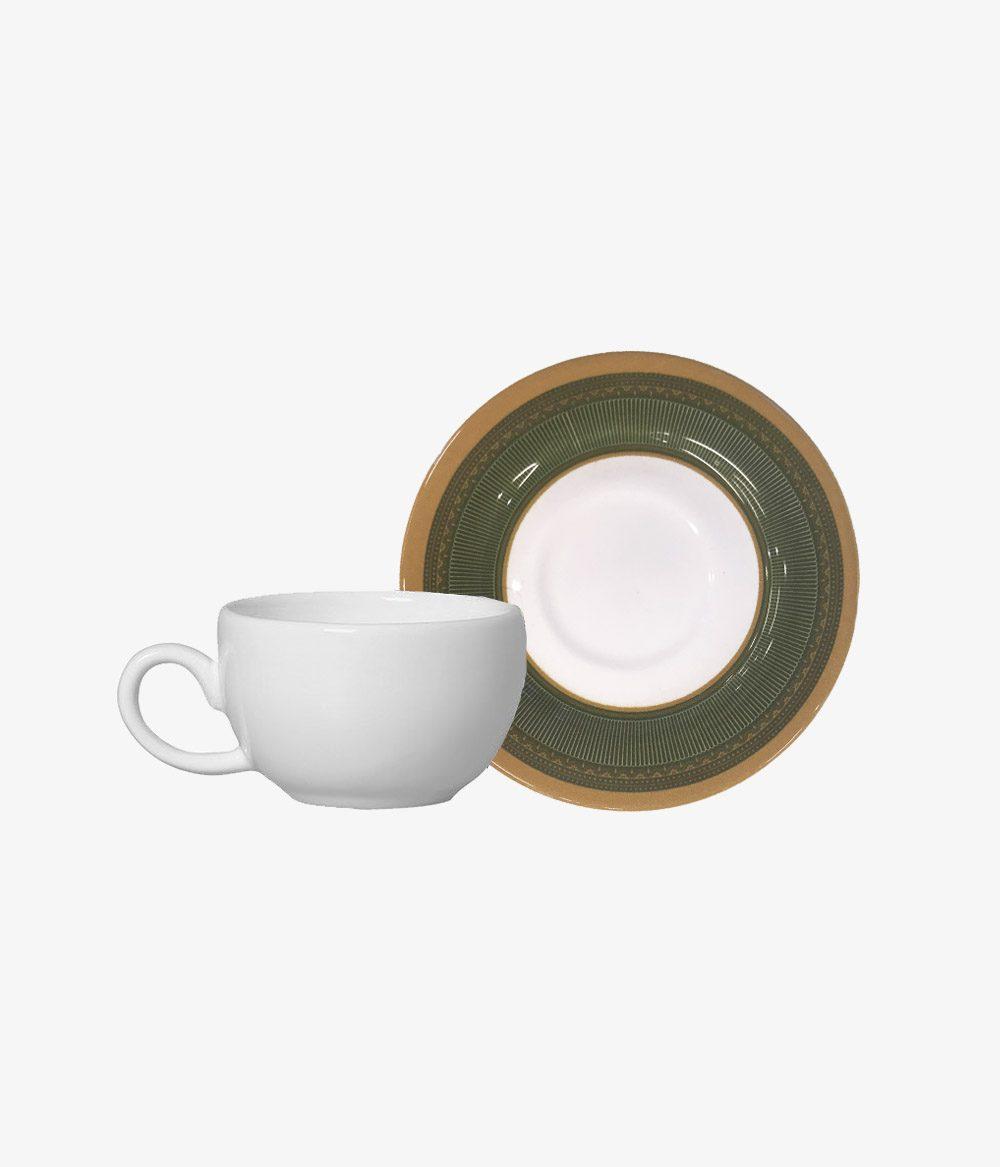 Conjunto 6 Xícaras de Café + 6 Pires Plissan Verde