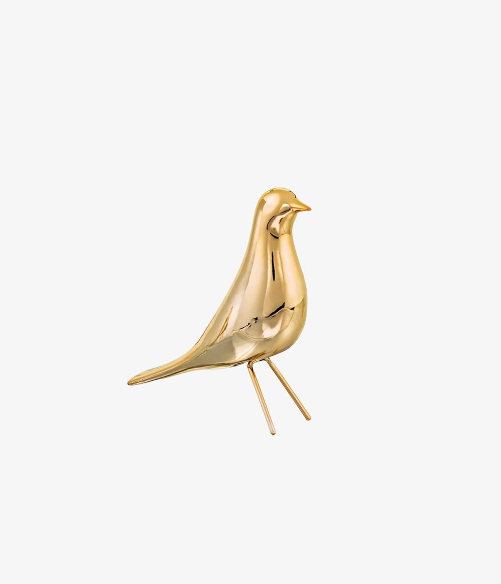 Pássaro Dourado em Cerâmica Tam. P