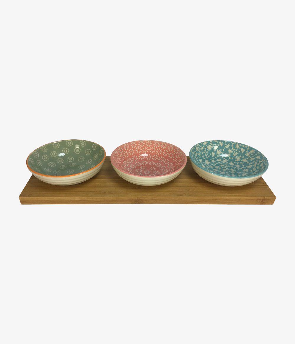 Petisqueira de Bamboo e Cerâmica c/ 3 Bowls
